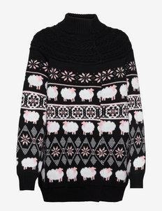 Long Sweater - turtlenecks - fantasy print black