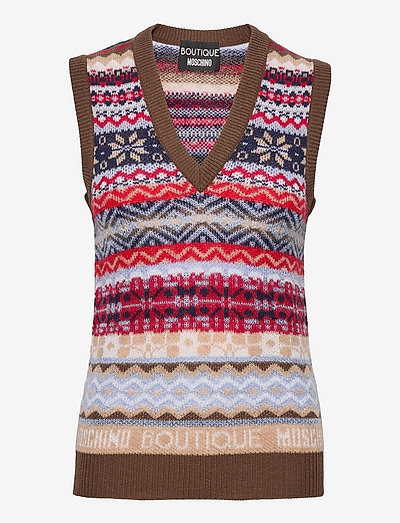 Sweater - knitted vests - brown fantasy print