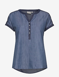 Blouse-woven - kortermede bluser - washed blue