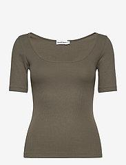 T-shirt ribbed - OLIVE GREEN