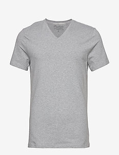 V-Neck T-shirt - basic t-shirts - grey melange