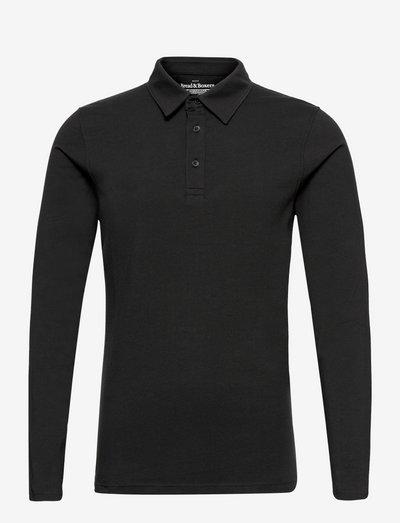 Long Sleeve Polo Shirt - polos à manches longues - black