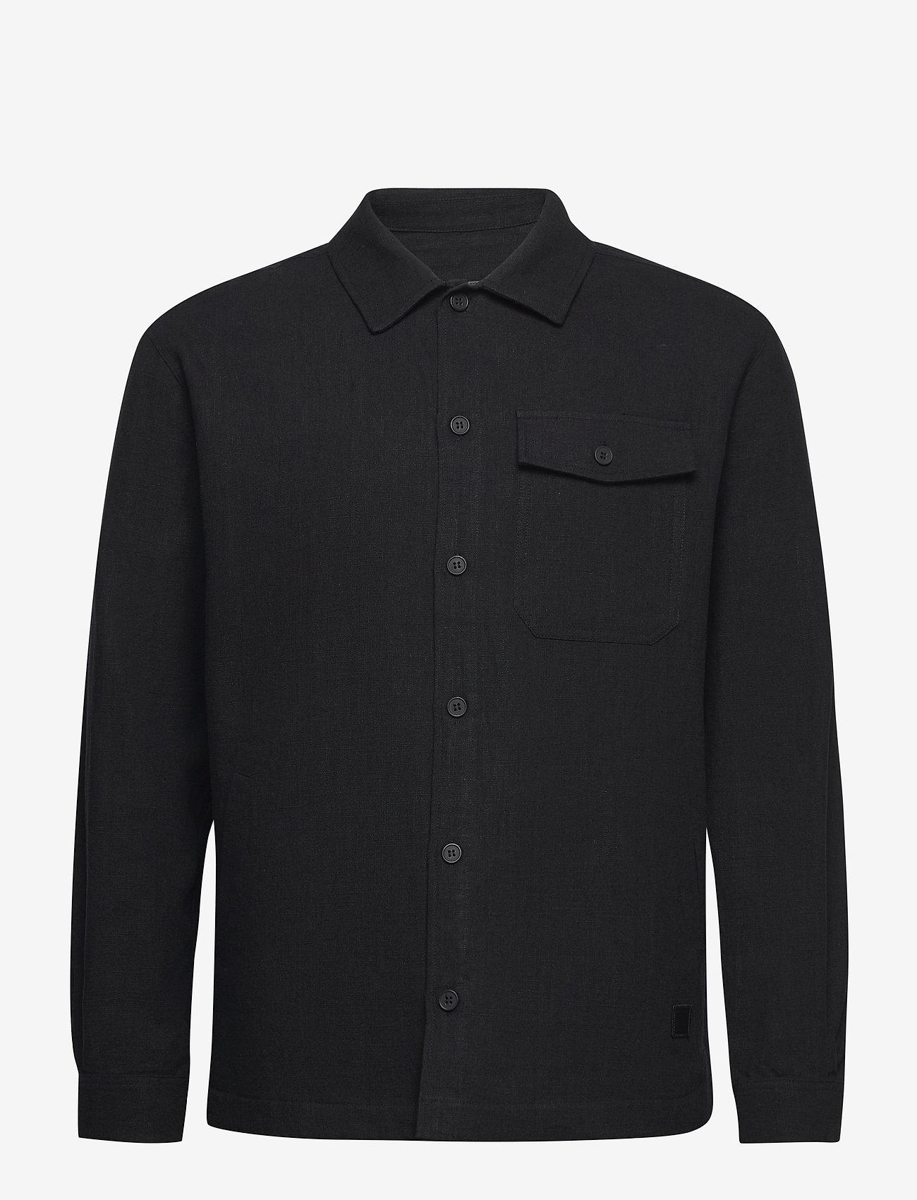 Brixtol Textiles - Frank Linen - tops - black - 1