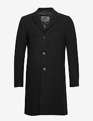 Brixtol Textiles - Ian - wollen mantels - black melange - 1