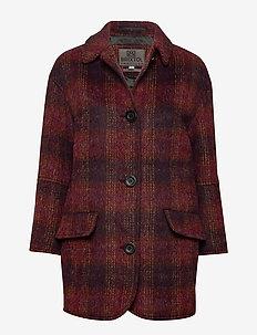 Edie - wool coats - aubergine check