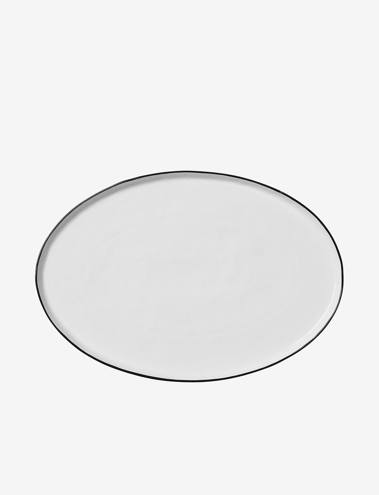 Broste Copenhagen - Oval plate Salt - serveringsfat - white w/black rim - 0