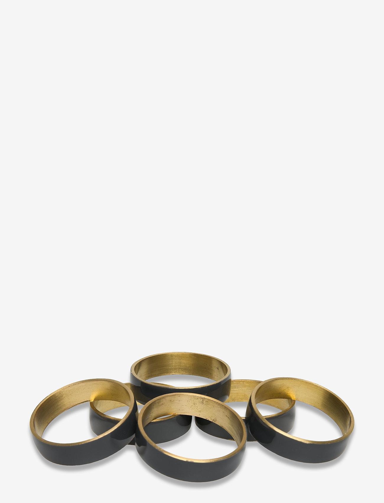 Broste Copenhagen - RING Napkin ring 6-pack - serviettringer & serviettholdere - brass/castlerock - 0