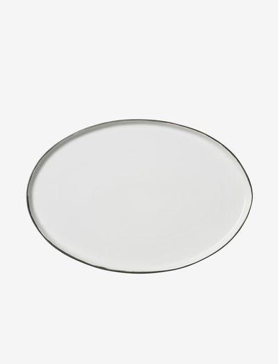 Plate oval Esrum - middagstallerkener - ivory/grey