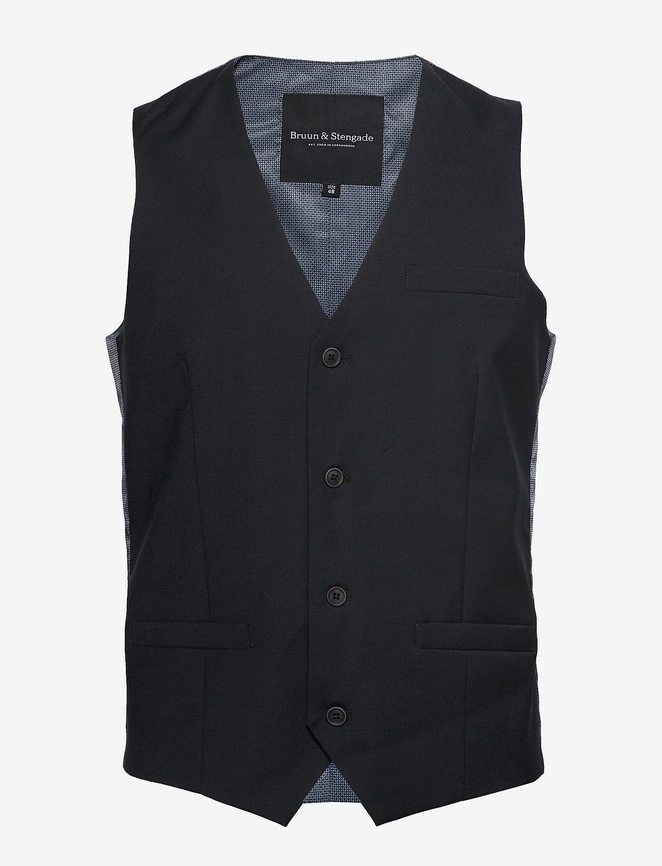 Bruun & Stengade - BS Hardmann - waistcoats - black - 0