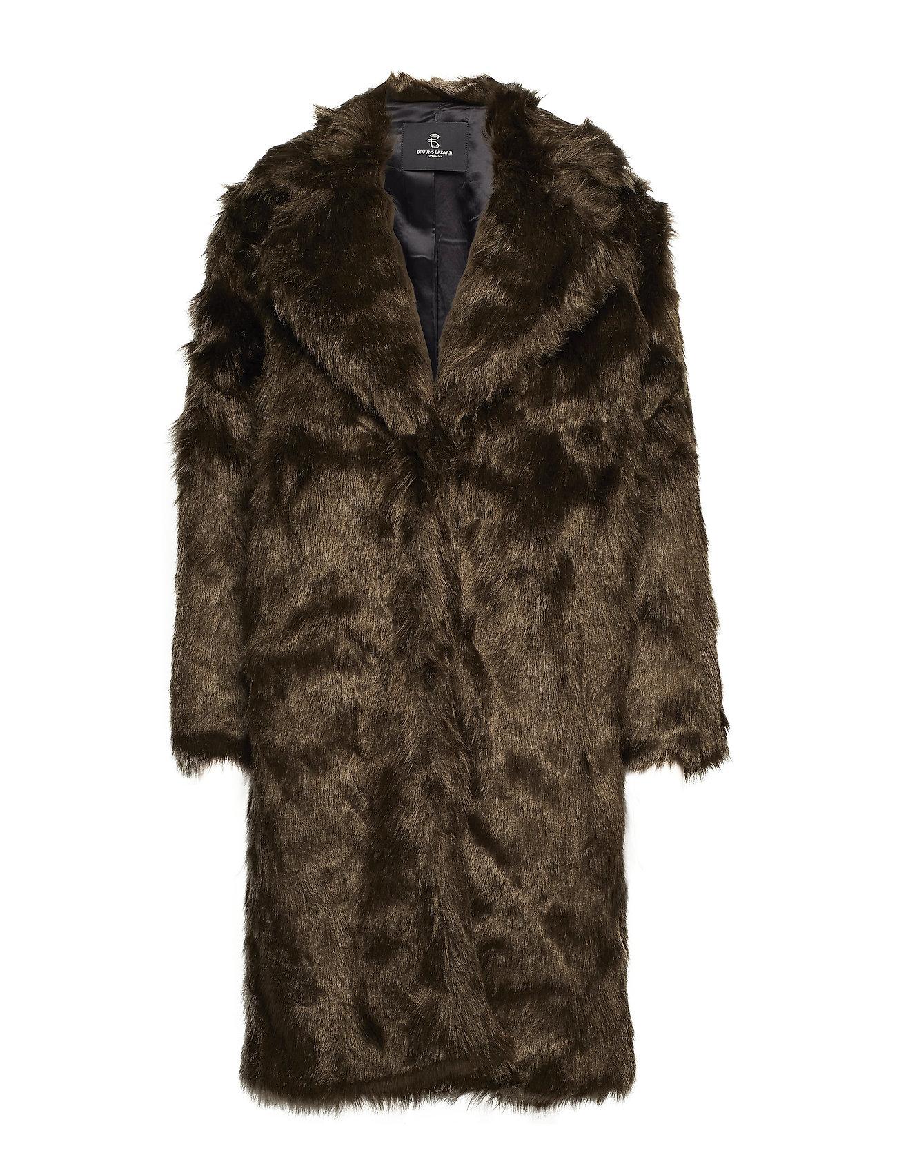 Bruuns Bazaar Abby Coraline Fur Coat - DARK BROWN