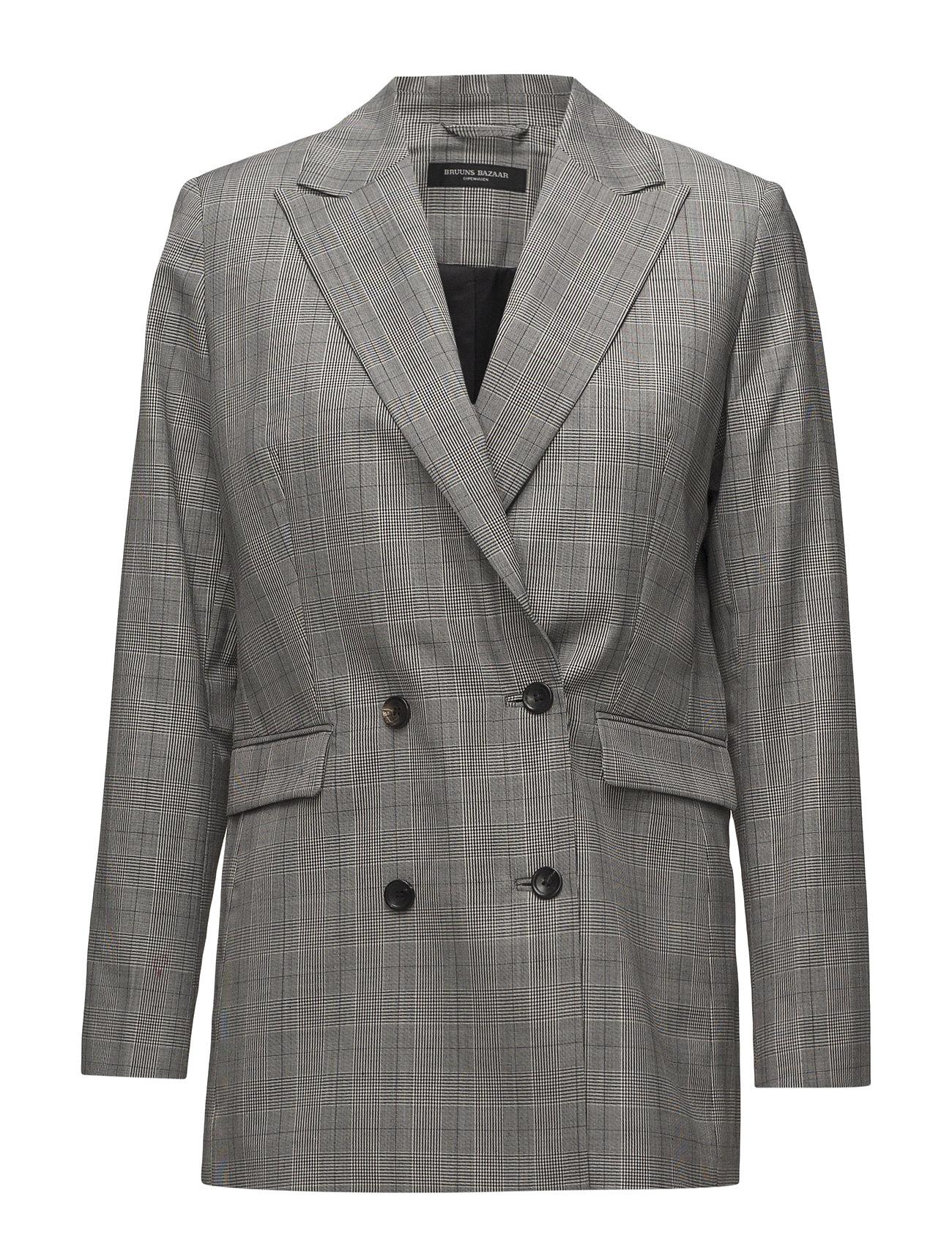 Bruuns Bazaar Caysa Mila DB blazer - CHECK BLACK/WHITE