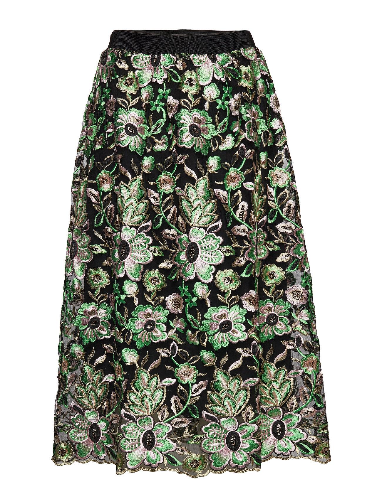 Bruuns Bazaar Tullah Palma Skirt - BLACK - EMBRODED MESH
