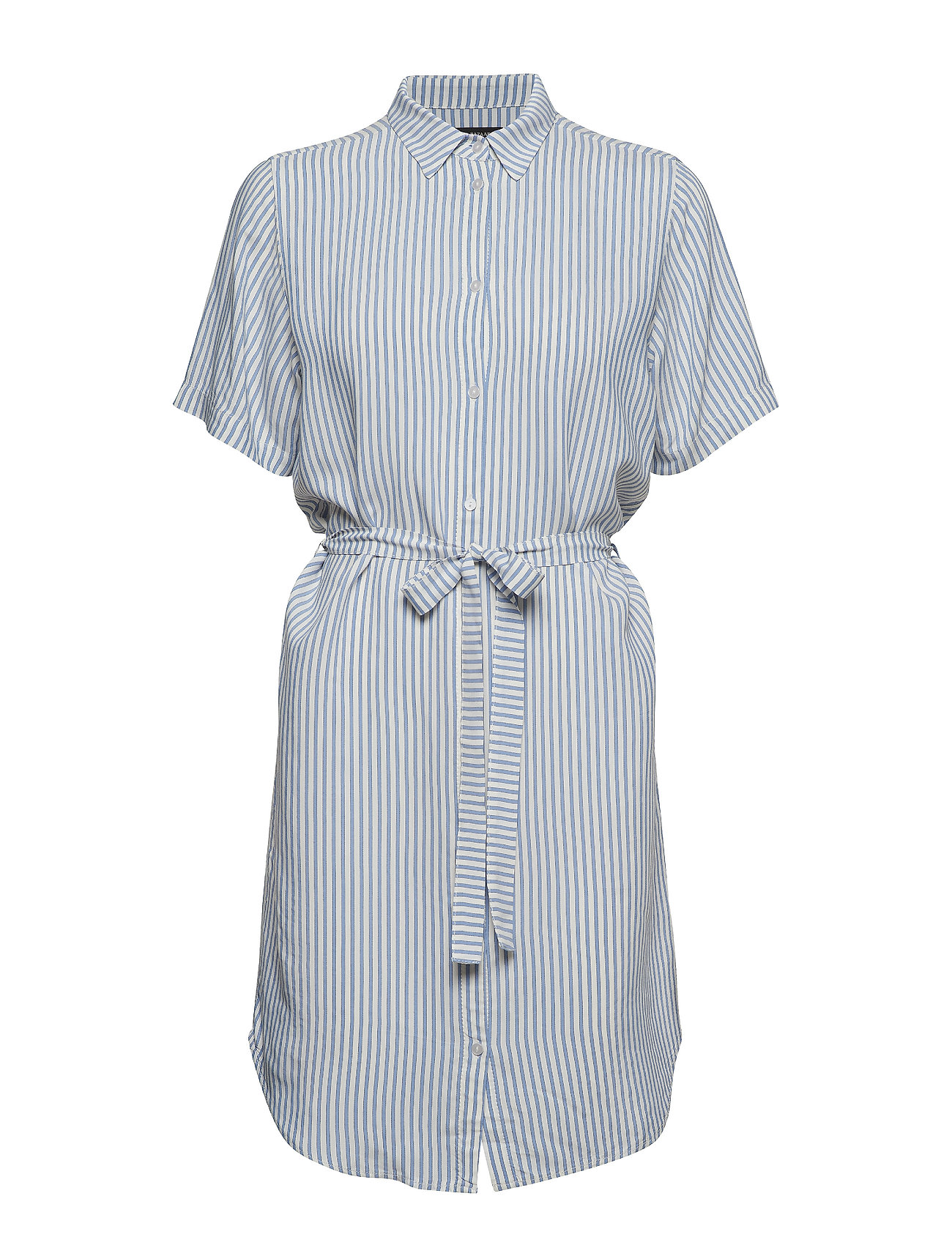 Bruuns Bazaar Bertha Nella Shirt Dress - SNOW WHITE WITH BLUE STRIPES