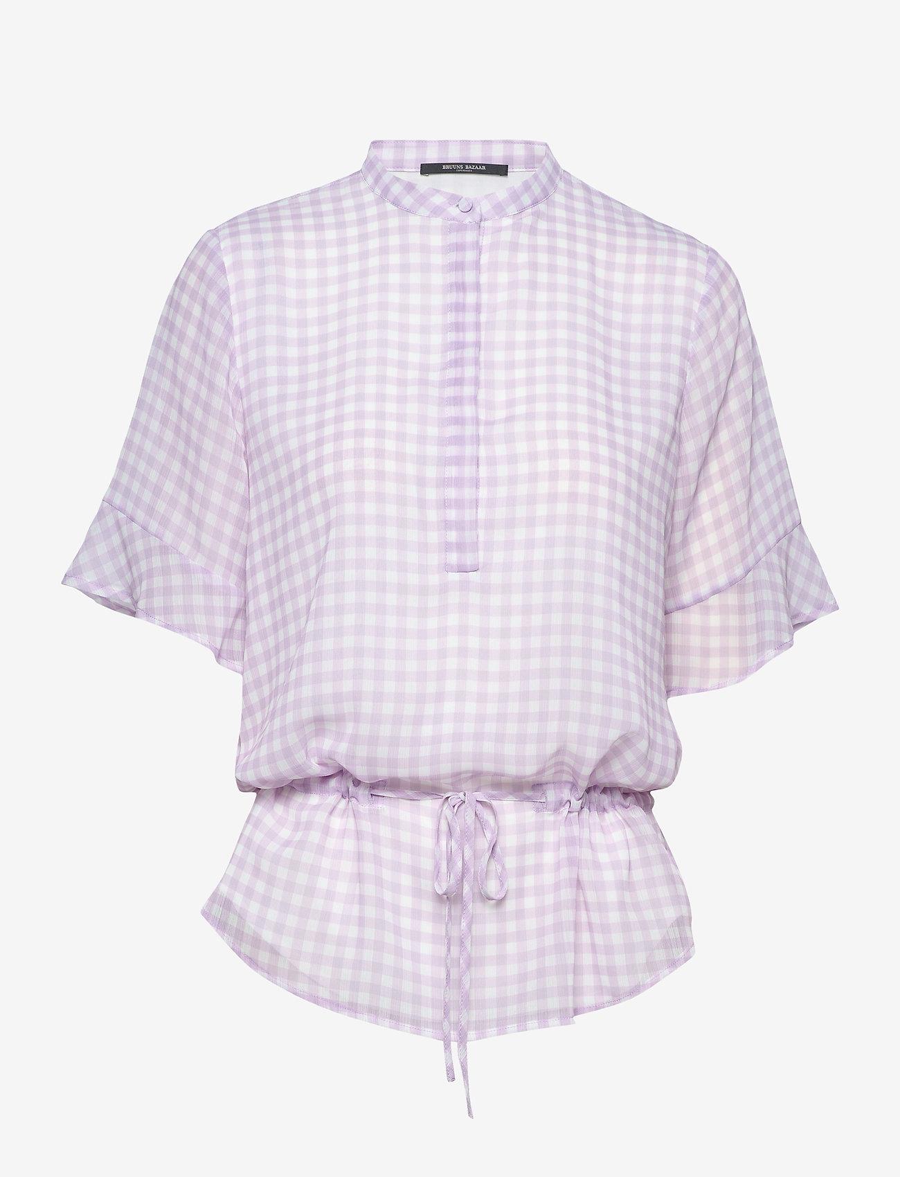 Bruuns Bazaar - Checks Beatrice shirt - kortermede bluser - lavender