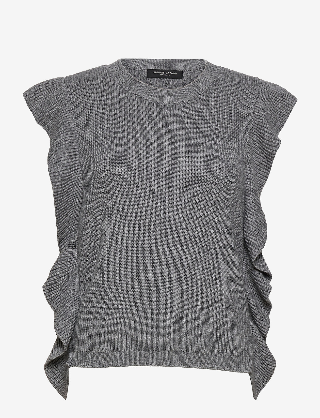 Bruuns Bazaar - Simona Innea knit vest - knitted vests - grey melange - 1