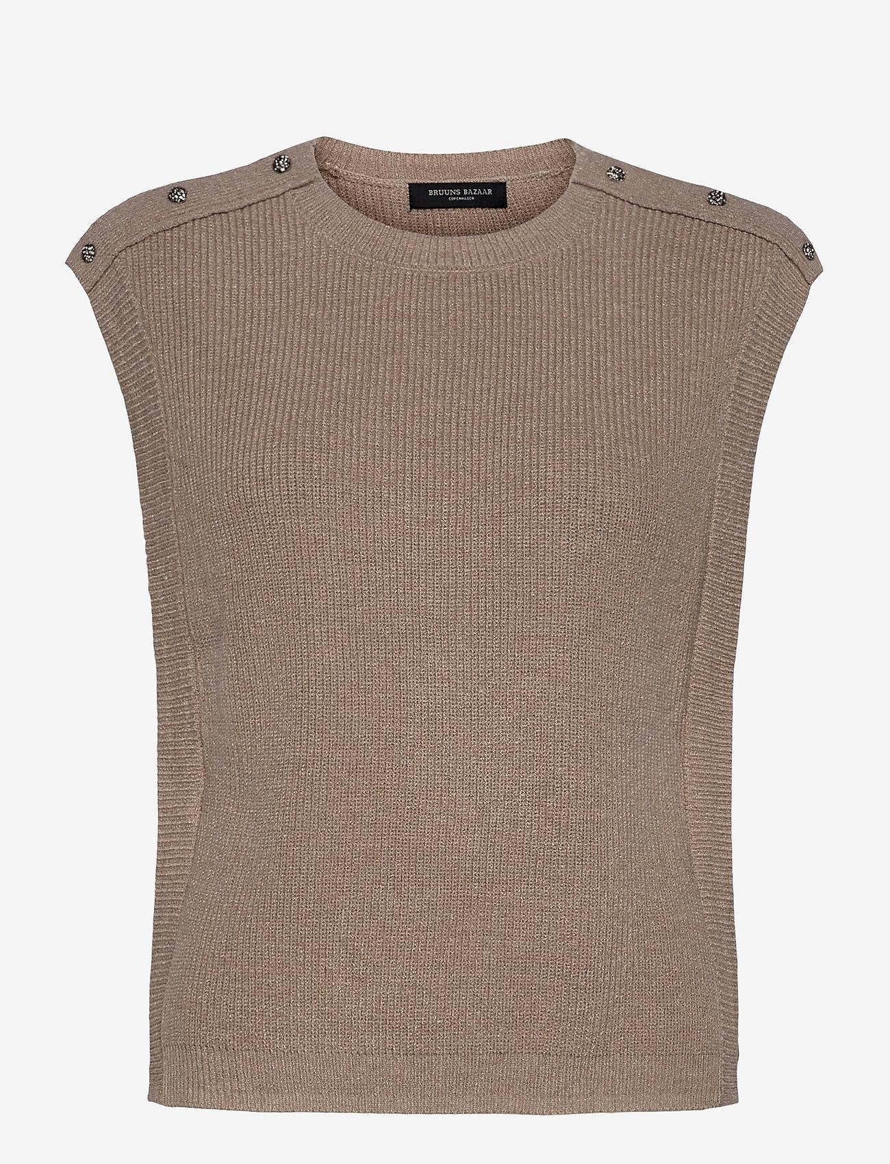 Bruuns Bazaar - Simona Maine knit vest - strikkede toppe - beige melange - 0