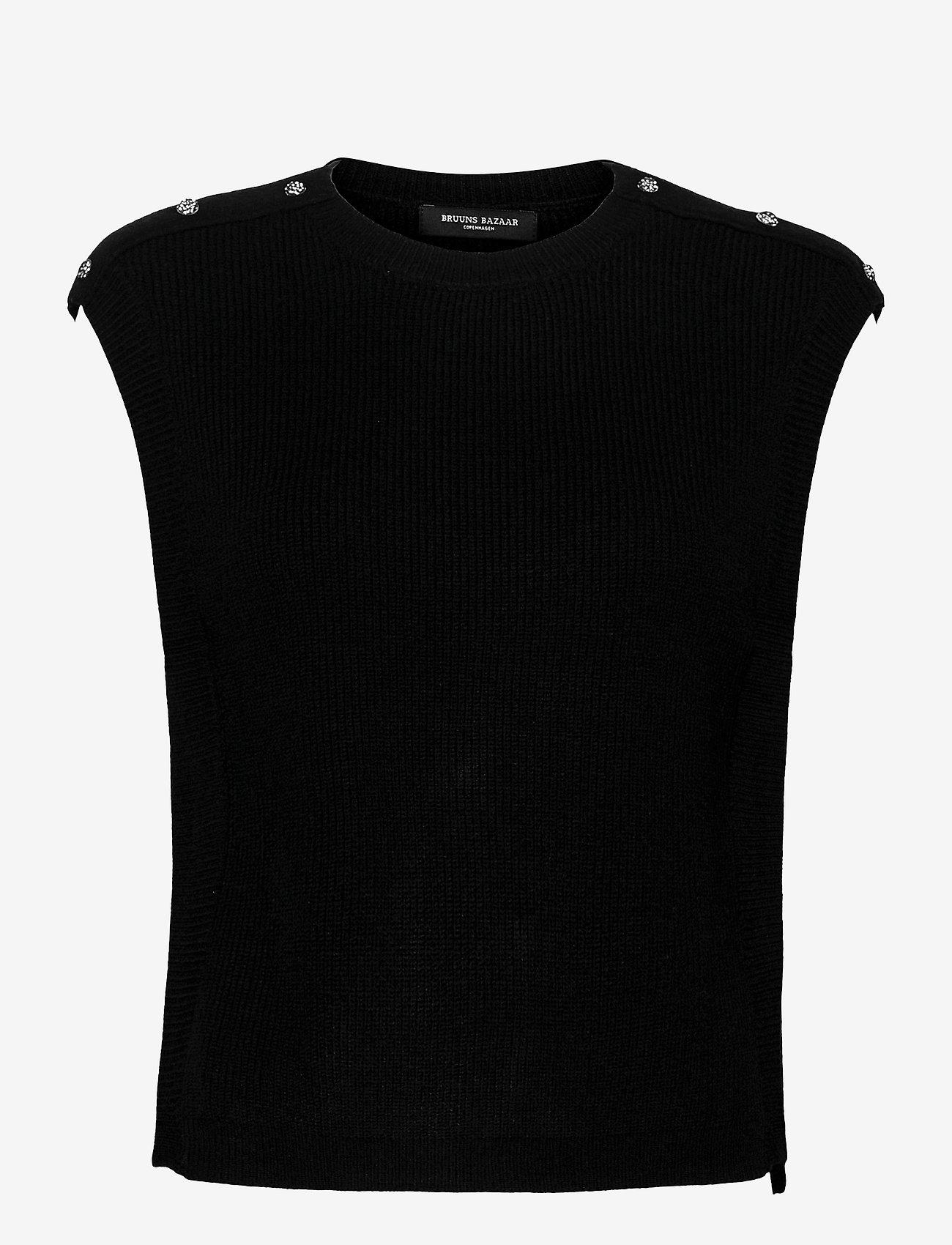 Bruuns Bazaar - Simona Maine knit vest - strikkede toppe - black - 0