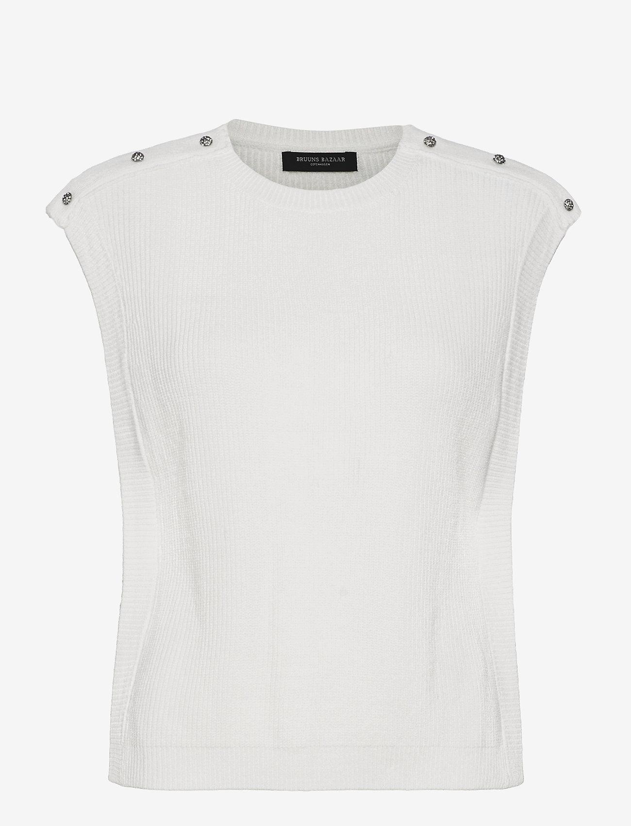 Bruuns Bazaar - Simona Maine knit vest - strikkede toppe - snow white - 0