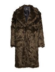 Abby Coraline Fur Coat - DARK BROWN