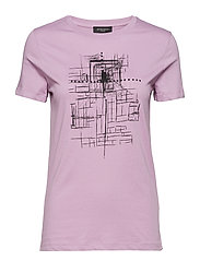 Cleo tee - LAVENDER WITH BLACK FRONT PRINT