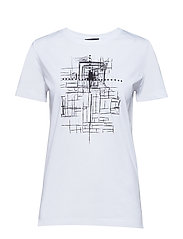 Cleo tee - WHITE WITH BLACK FRONT PRINT