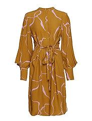 Ina Abstract dress - KHAKI ABSTRACT AOP