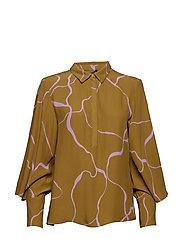 Ina Abstract shirt - KHAKI ABSTRACT AOP