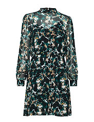Botanic Lucinda Dress - BLACK/DEEP GREEN ARTWORK