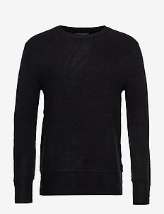 Chris Crew Neck - basic gebreide truien - black