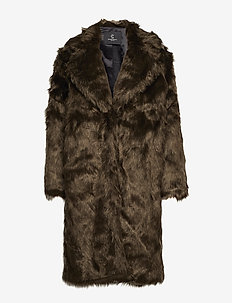 Abby Coraline Fur Coat - DARK BROWN