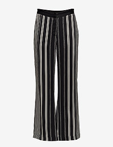 Anna stripe pant - straight leg trousers - black/white stripes