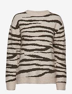 Zena Christina knit - jumpers - zebra olive tree/ginger beige