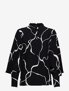 Ina Abstract shirt - BLACK ABSTRACT AOP