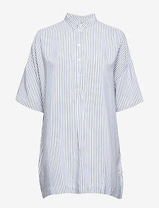 Bertha Aldina Shirt - short-sleeved blouses - snow white with blue stripes