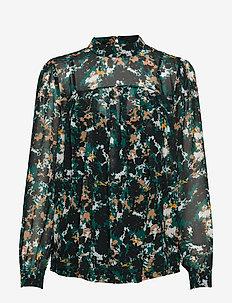 Botanic Emery Blouse - long sleeved blouses - black/deep green artwork