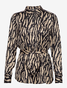 Tree Viggi Shirt - long sleeved blouses - black/desert sand artwork