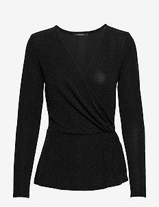 Riba Jenna Blouse - long sleeved blouses - black/silver
