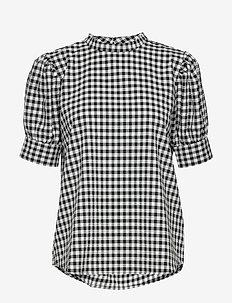 Seer Adelaia blouse - kortermede bluser - black/white check