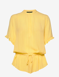 Nori Mailly top BZ - kortermede bluser - lemon drop