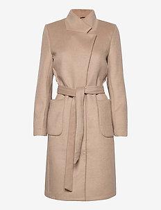 Jasmina Perle coat - wool coats - roasted grey khaki