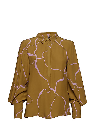 Ina Abstract shirt - KHAKI ABSTRACT AOP