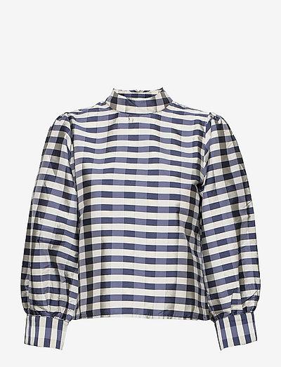 Parsley Madja blouse - langærmede bluser - blue mix check