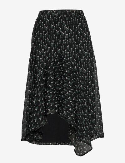 Vervain Marilyn (Cira) skirt - midi nederdele - black  print
