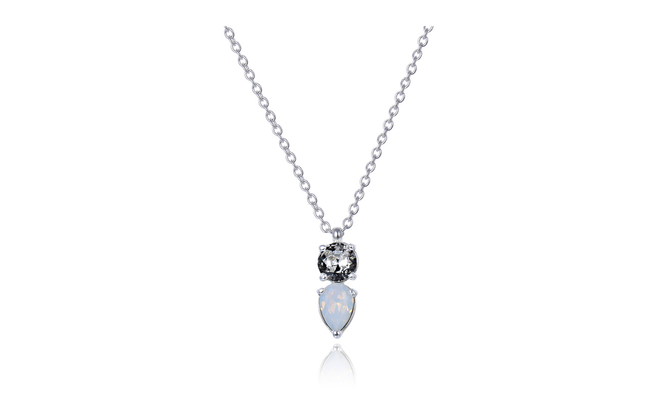 Bud to rose Mini River Short Necklace - WHITE/SILVER