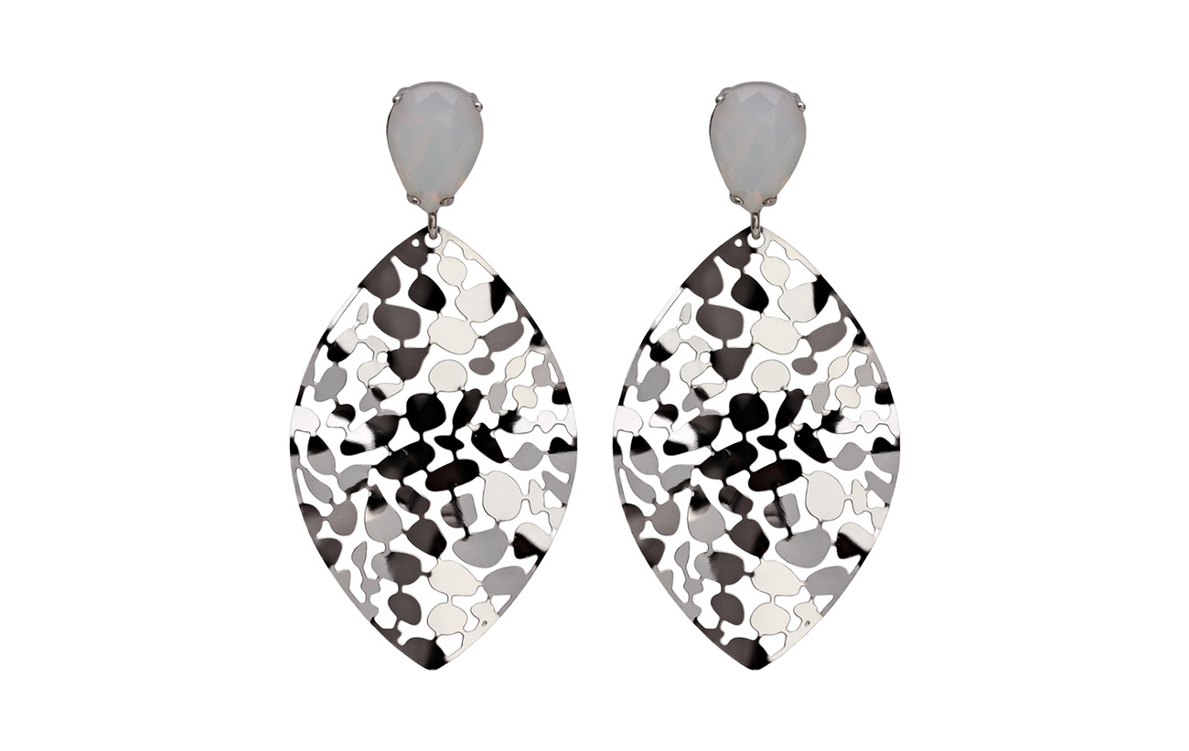 Bud to rose Crystal Leaf Earring - WHITE/SILVER
