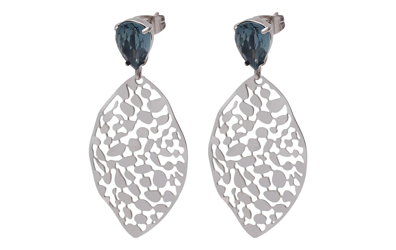 Bud to rose Leaf Crystal Small Earring - BLUE