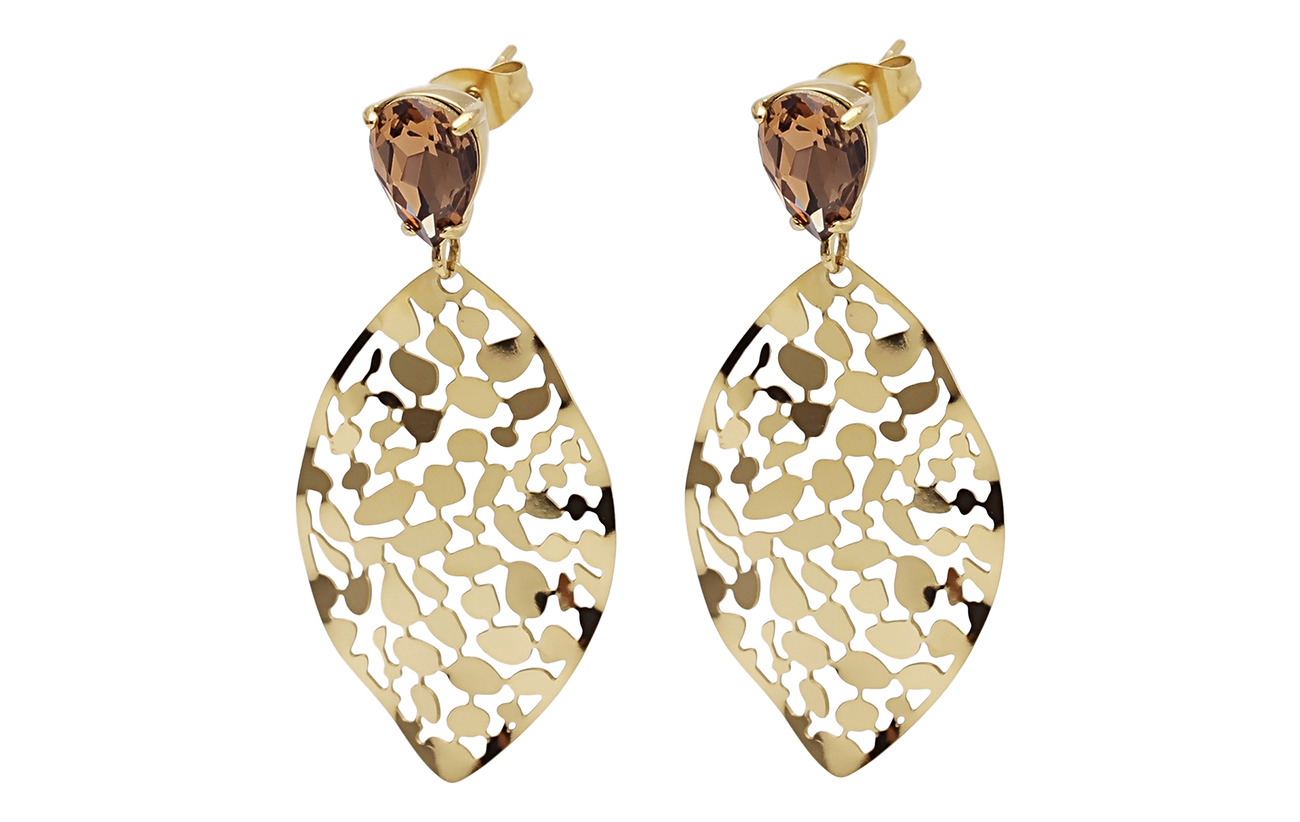 Bud to rose Leaf Crystal Small Earring - BROWN