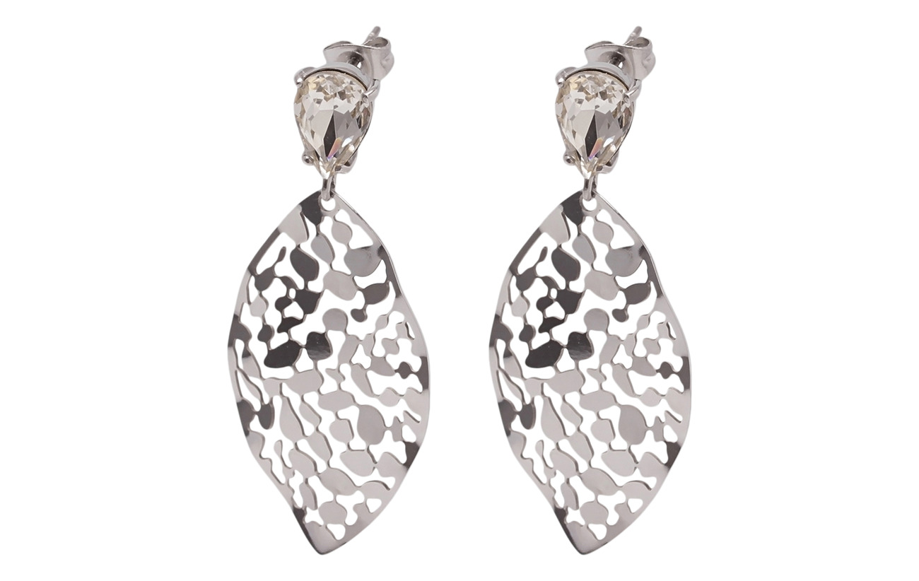 Bud to rose Leaf Crystal Small Earring - SILVER