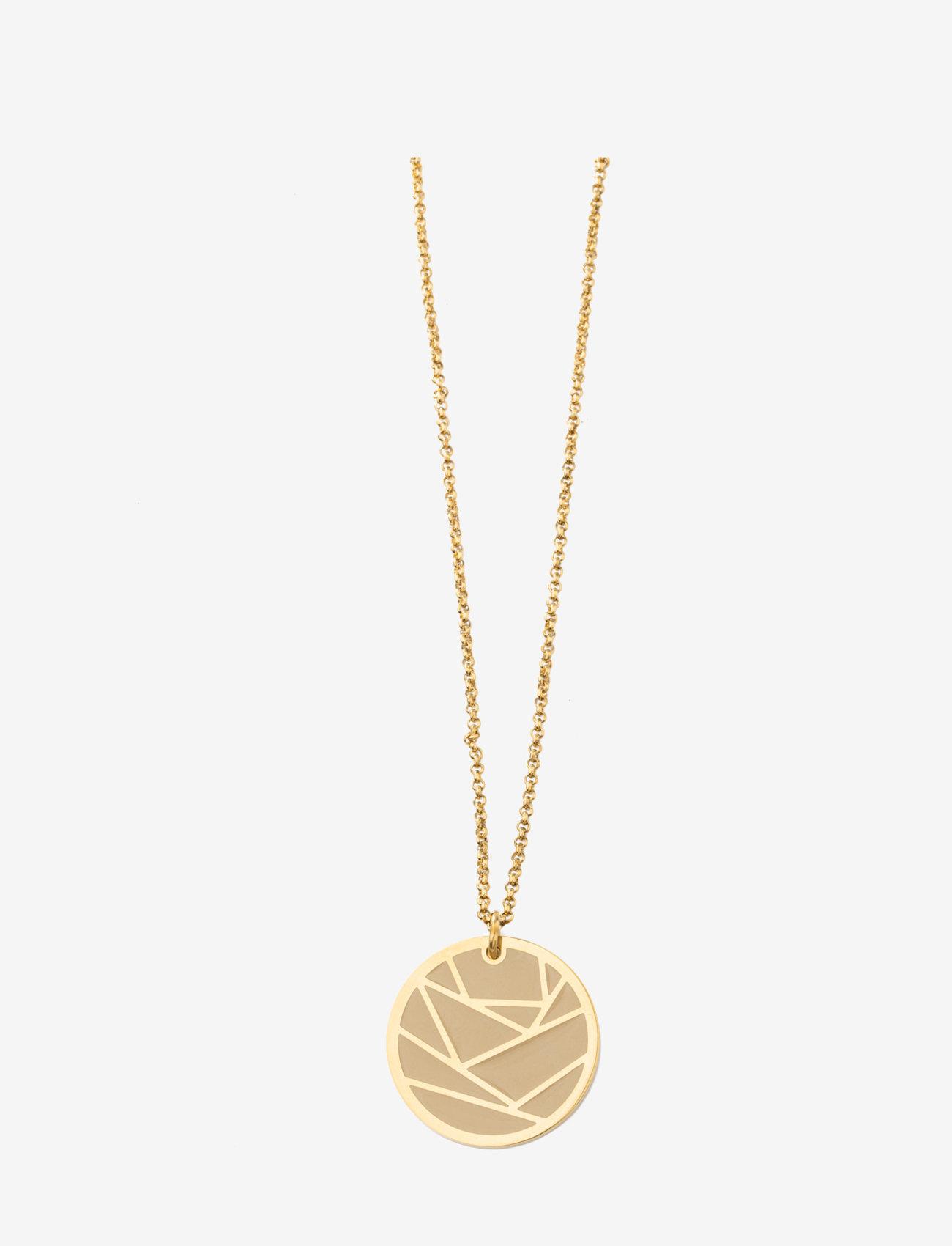 Bud to rose - Rose Enamel Long necklace Sand/Gold - kettingen met hanger - gold - 0