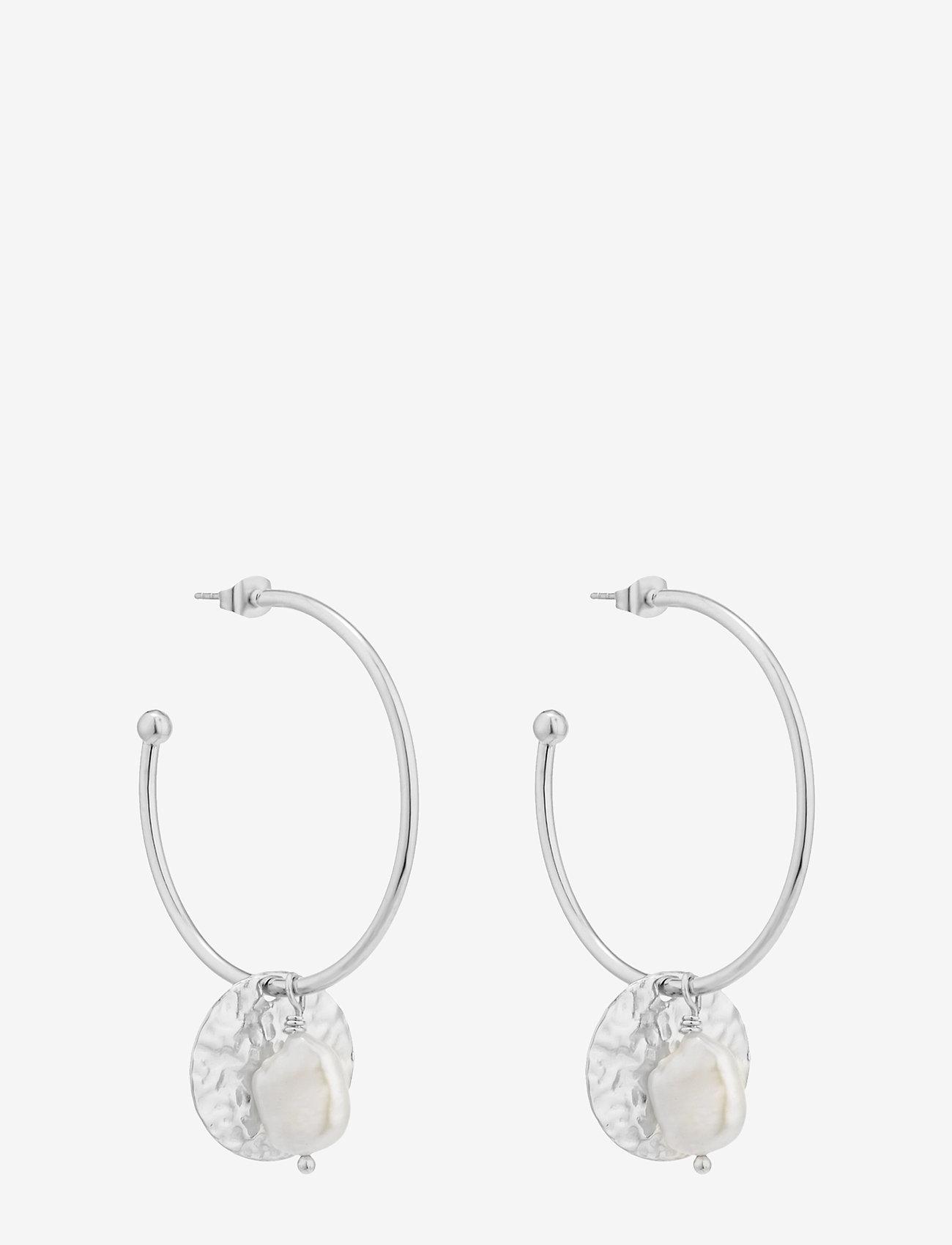 Bud to rose - Devious Pearl Hoop Earring Steel - korvarenkaat - silver - 0
